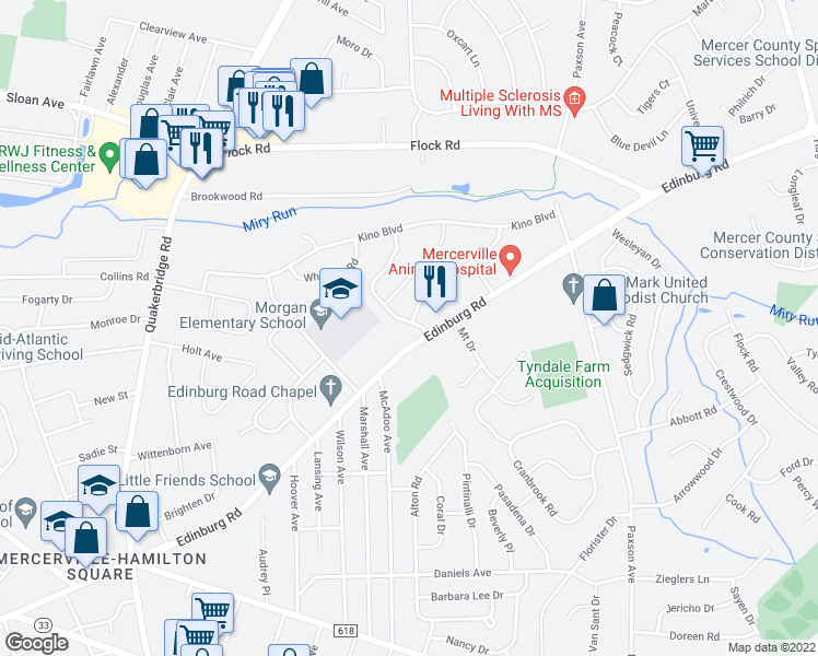 map of restaurants, bars, coffee shops, grocery stores, and more near 7 Tanglewood Drive