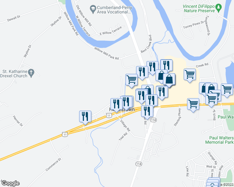map of restaurants, bars, coffee shops, grocery stores, and more near 33-79 Old Willow Mill Road in Mechanicsburg