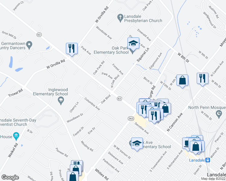 map of restaurants, bars, coffee shops, grocery stores, and more near 31 Oak Blvd in Lansdale