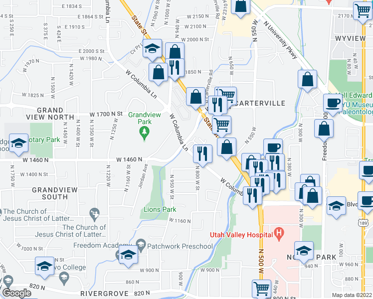 map of restaurants, bars, coffee shops, grocery stores, and more near 865 West Columbia Lane in Provo