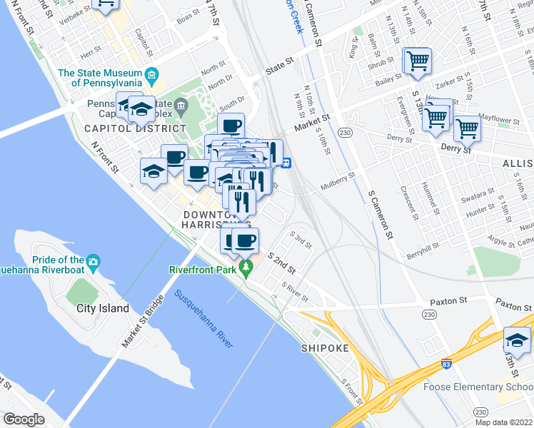 map of restaurants, bars, coffee shops, grocery stores, and more near 28 S 3rd St in Harrisburg