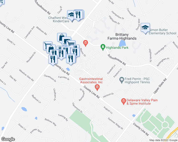 map of restaurants, bars, coffee shops, grocery stores, and more near 867-899 Manor Dr in Chalfont