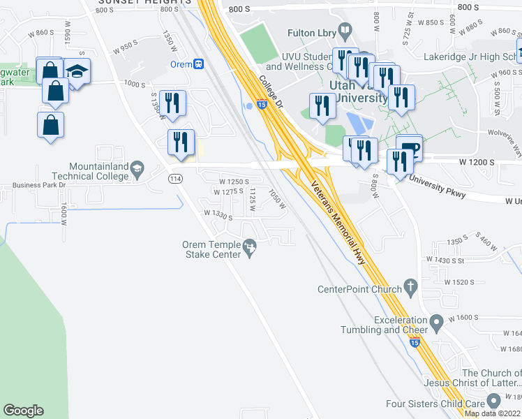 map of restaurants, bars, coffee shops, grocery stores, and more near 1054 West 1290 South in Orem