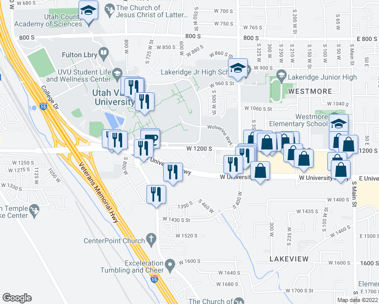 map of restaurants, bars, coffee shops, grocery stores, and more near 1220 South 620 West in Orem