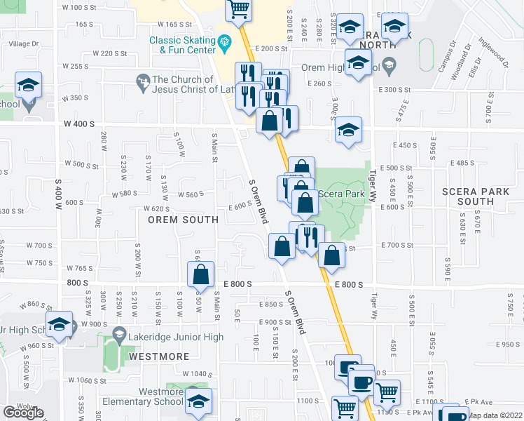 map of restaurants, bars, coffee shops, grocery stores, and more near 661 S Orem Blvd in Orem