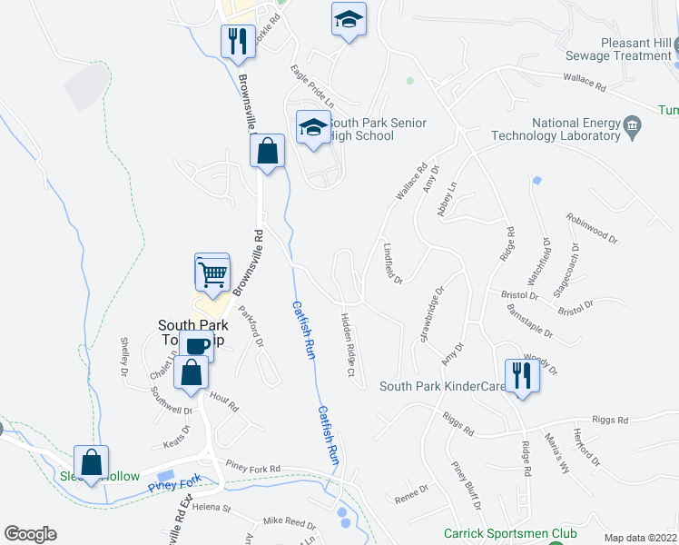 map of restaurants, bars, coffee shops, grocery stores, and more near 7000 Squires Manor Ln in South Park Township