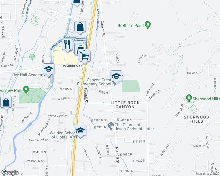 map of restaurants, bars, coffee shops, grocery stores, and more near 101-223 E 4620 N in Provo