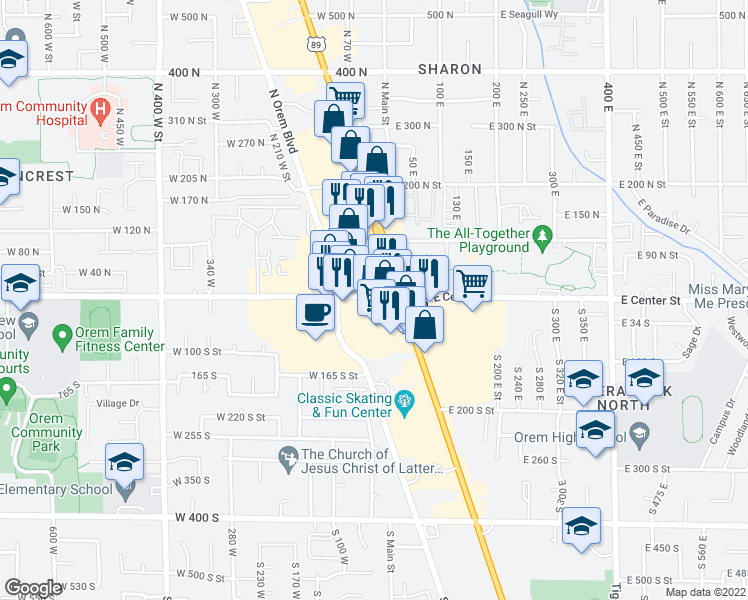 map of restaurants, bars, coffee shops, grocery stores, and more near 51 W Center St in Orem