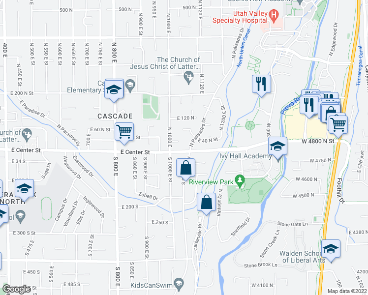 map of restaurants, bars, coffee shops, grocery stores, and more near 19 N Palisades Dr in Orem
