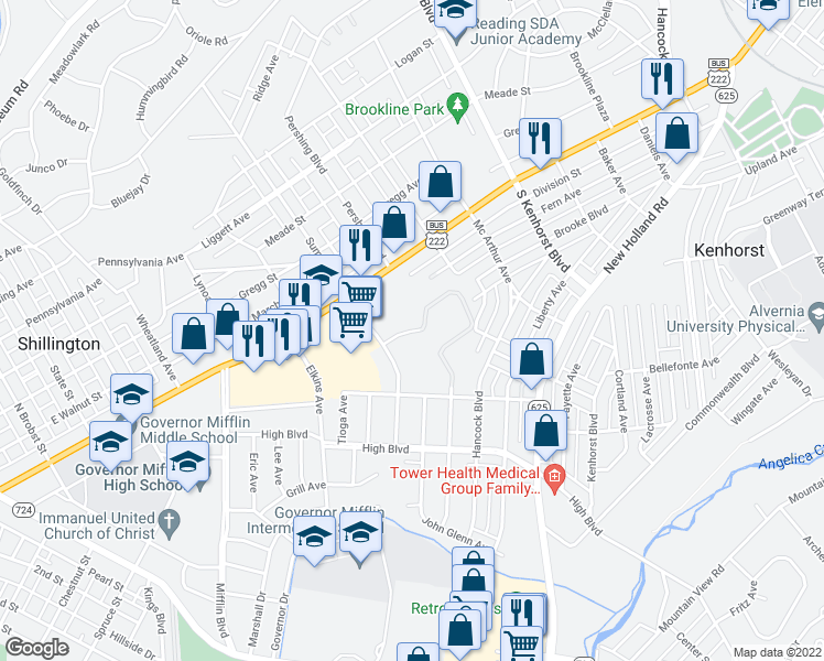 map of restaurants, bars, coffee shops, grocery stores, and more near 260-432 Community Drive in Reading