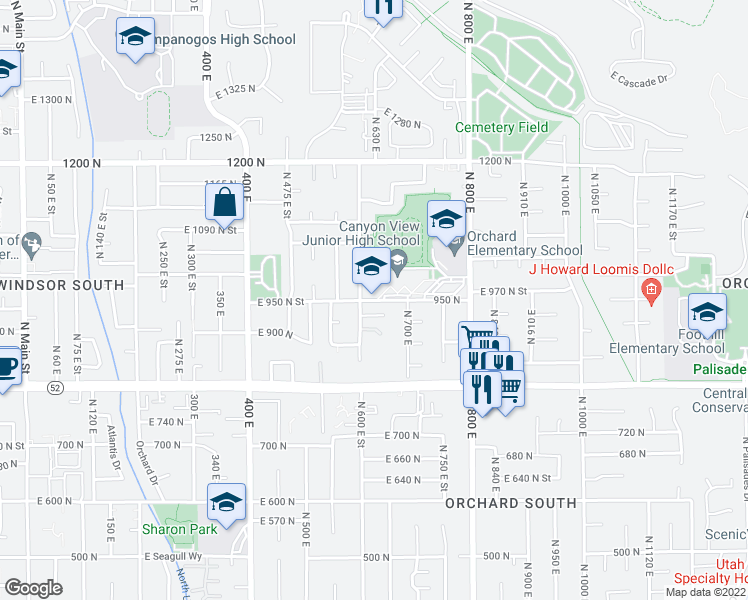 map of restaurants, bars, coffee shops, grocery stores, and more near 950-1000 North 600 East Street in Orem