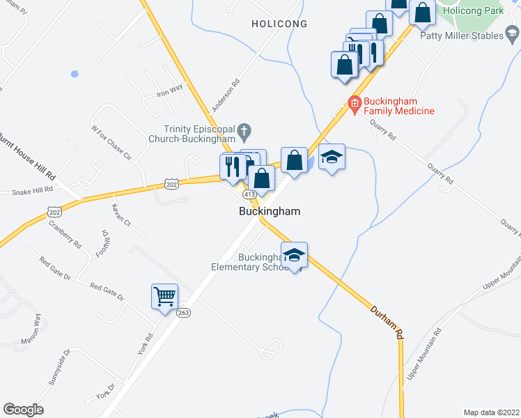 map of restaurants, bars, coffee shops, grocery stores, and more near 4767-4769 York Rd in Buckingham