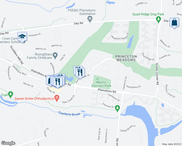 map of restaurants, bars, coffee shops, grocery stores, and more near 8731-8733 Hunters Glen Dr in Plainsboro Township