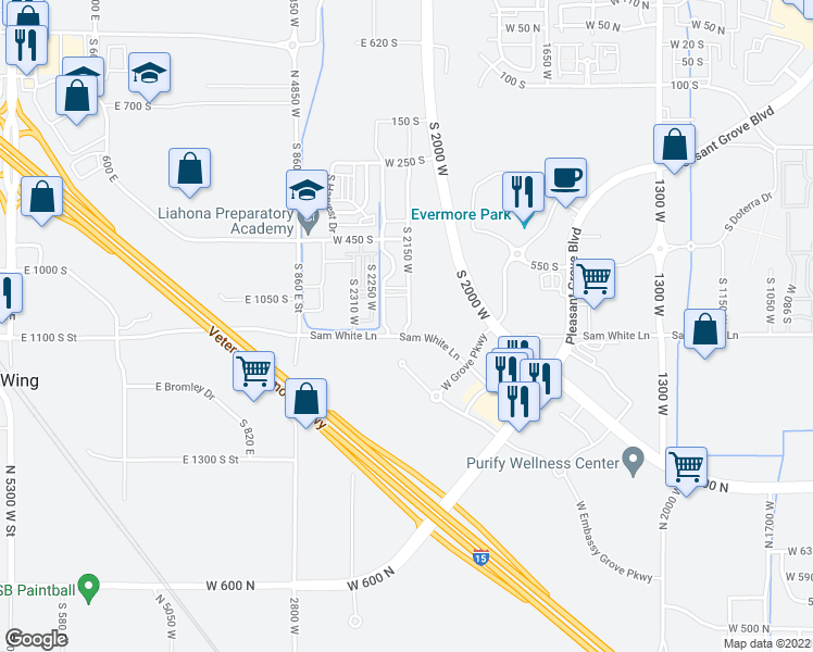 map of restaurants, bars, coffee shops, grocery stores, and more near 496-634 Chateau Way in American Fork