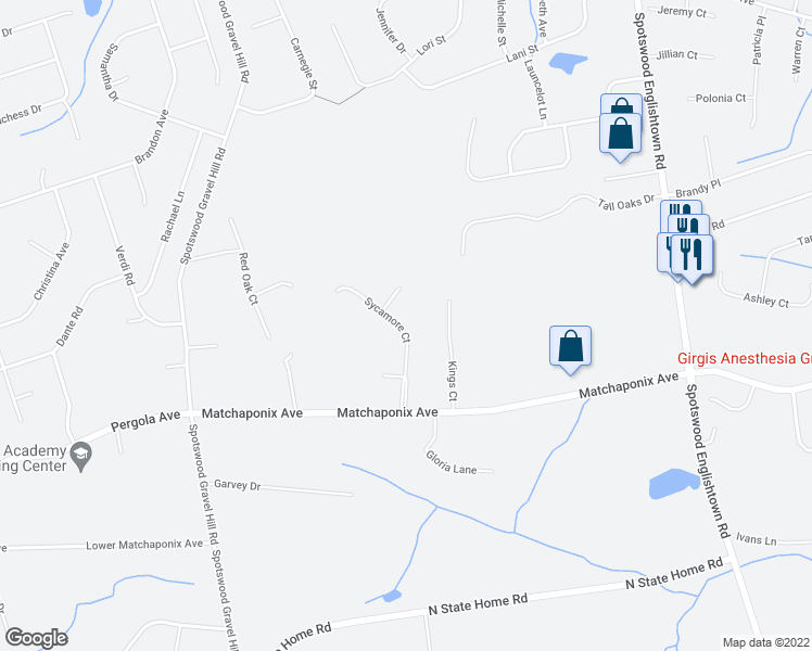 map of restaurants, bars, coffee shops, grocery stores, and more near Sycamore Court in Monroe Township