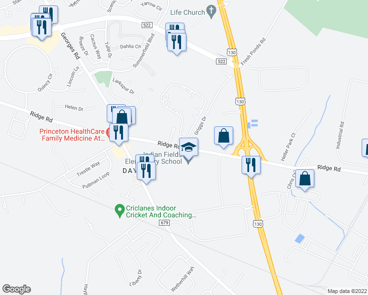 map of restaurants, bars, coffee shops, grocery stores, and more near 353-359 Ridge Road in South Brunswick Township
