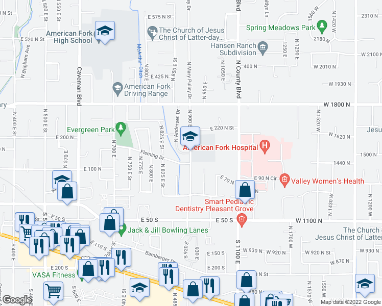 map of restaurants, bars, coffee shops, grocery stores, and more near 158 North 900 East Street in American Fork