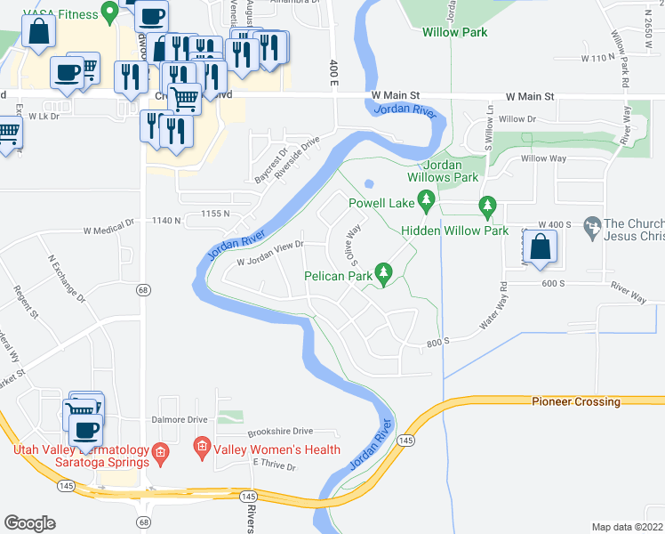 map of restaurants, bars, coffee shops, grocery stores, and more near 502-510 South Jordan Way in Lehi