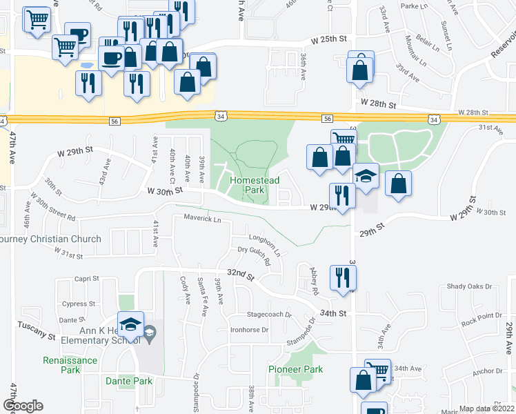 map of restaurants, bars, coffee shops, grocery stores, and more near 3003 Bison Ct in Evans