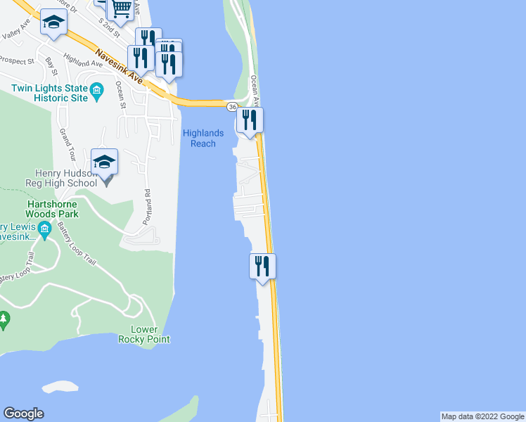 map of restaurants, bars, coffee shops, grocery stores, and more near in Sea Bright