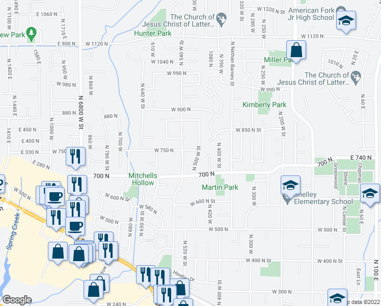 map of restaurants, bars, coffee shops, grocery stores, and more near 527 W 750 N St in American Fork