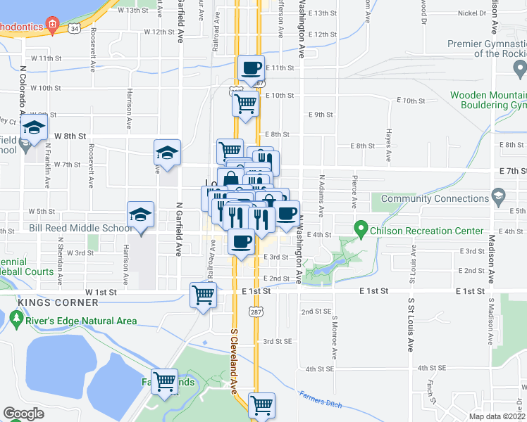 map of restaurants, bars, coffee shops, grocery stores, and more near 201 East 5th Street in Loveland