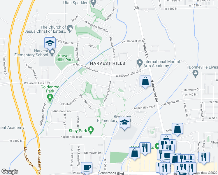map of restaurants, bars, coffee shops, grocery stores, and more near N Harvest Moon Dr in Saratoga Springs