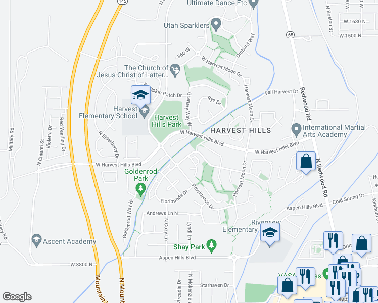 map of restaurants, bars, coffee shops, grocery stores, and more near 451 Bountiful Way in Saratoga Springs