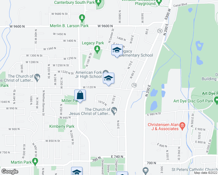map of restaurants, bars, coffee shops, grocery stores, and more near 1-41 East 1120 North Street in American Fork