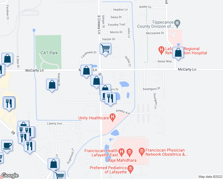 map of restaurants, bars, coffee shops, grocery stores, and more near 3801-3899 Burberry Drive in Lafayette