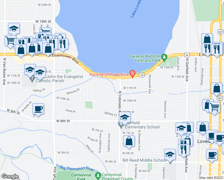 map of restaurants, bars, coffee shops, grocery stores, and more near 923-999 Winona Drive in Loveland