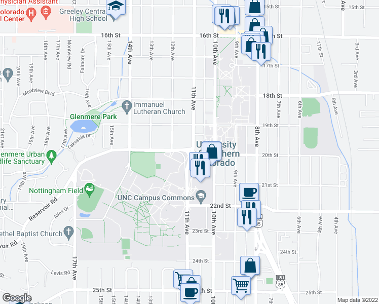 map of restaurants, bars, coffee shops, grocery stores, and more near 20th Street in Greeley