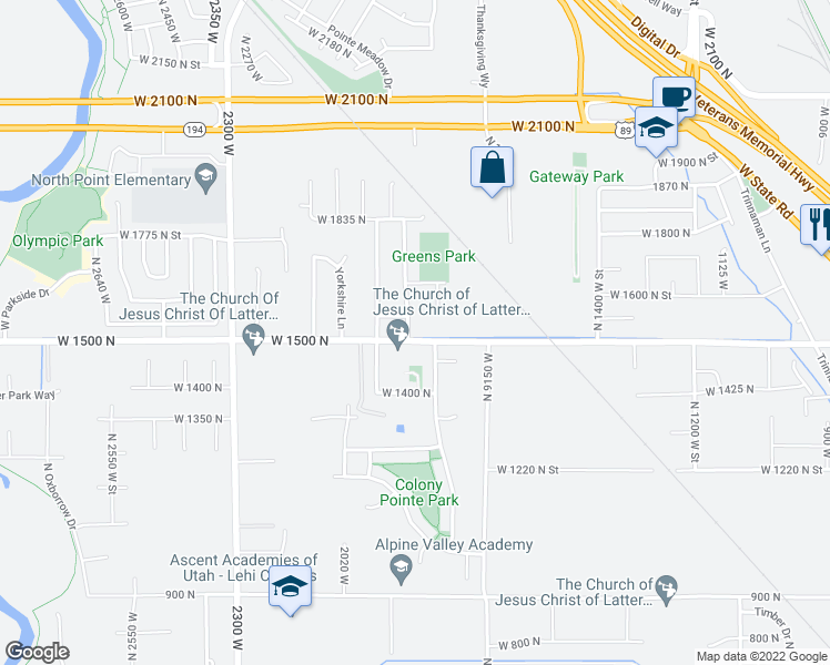 map of restaurants, bars, coffee shops, grocery stores, and more near 1780 West 1500 North in Lehi