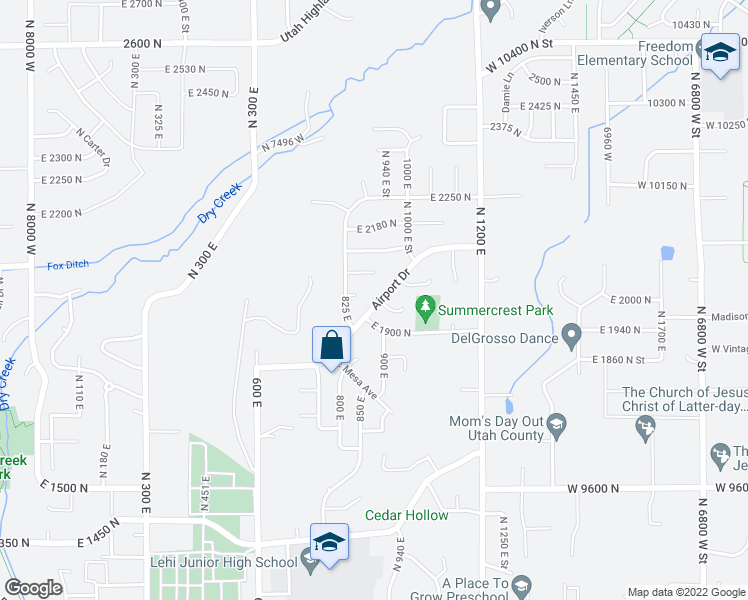 map of restaurants, bars, coffee shops, grocery stores, and more near 850 E 2070 N St in Lehi