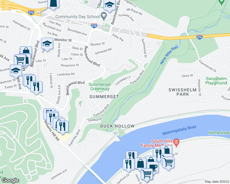 map of restaurants, bars, coffee shops, grocery stores, and more near 1435 Parkview Boulevard in Pittsburgh