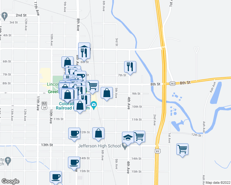 map of restaurants, bars, coffee shops, grocery stores, and more near 426 9th St in Greeley