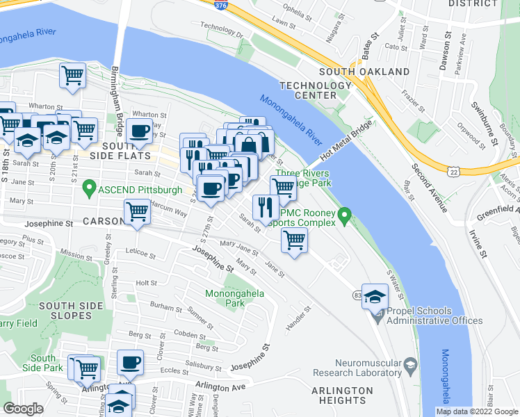 map of restaurants, bars, coffee shops, grocery stores, and more near 2825 Sarah Street in Pittsburgh
