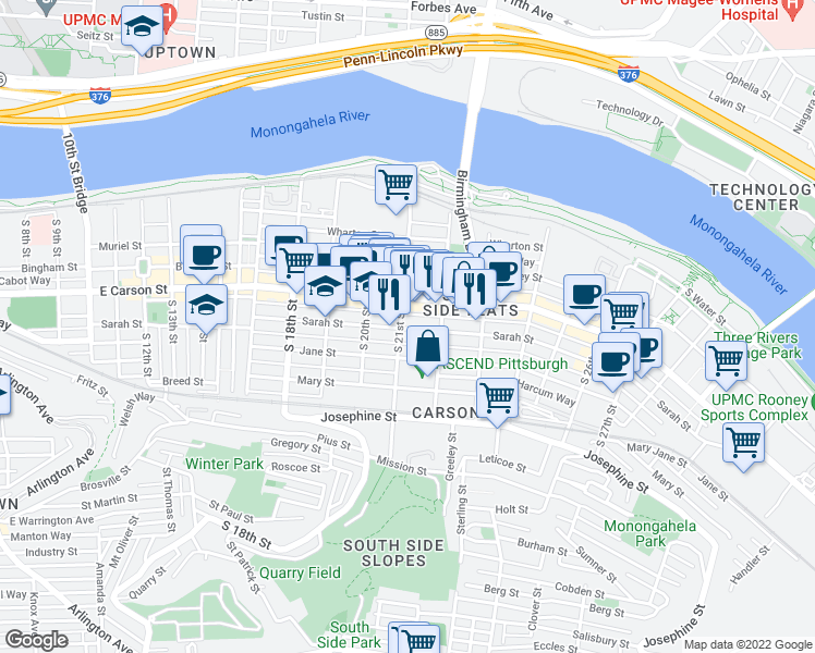 map of restaurants, bars, coffee shops, grocery stores, and more near 2105 Sarah Street in Pittsburgh