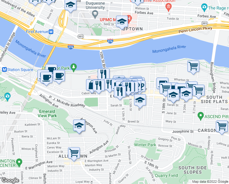map of restaurants, bars, coffee shops, grocery stores, and more near 44 South 11th Street in Pittsburgh