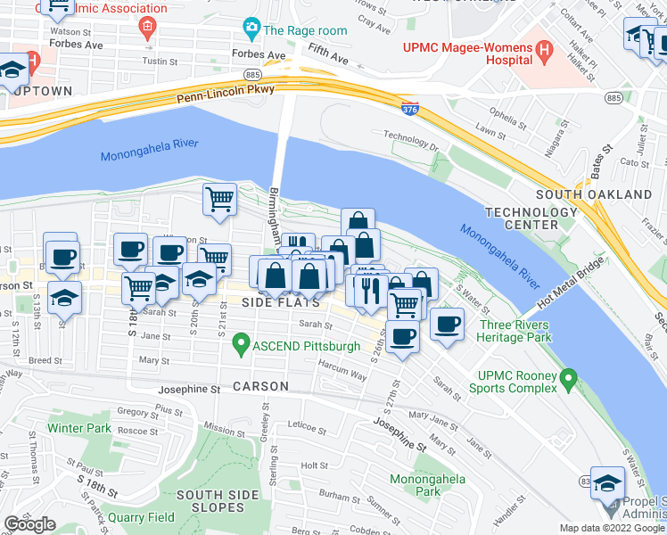 map of restaurants, bars, coffee shops, grocery stores, and more near 78 S 24th St in Pittsburgh
