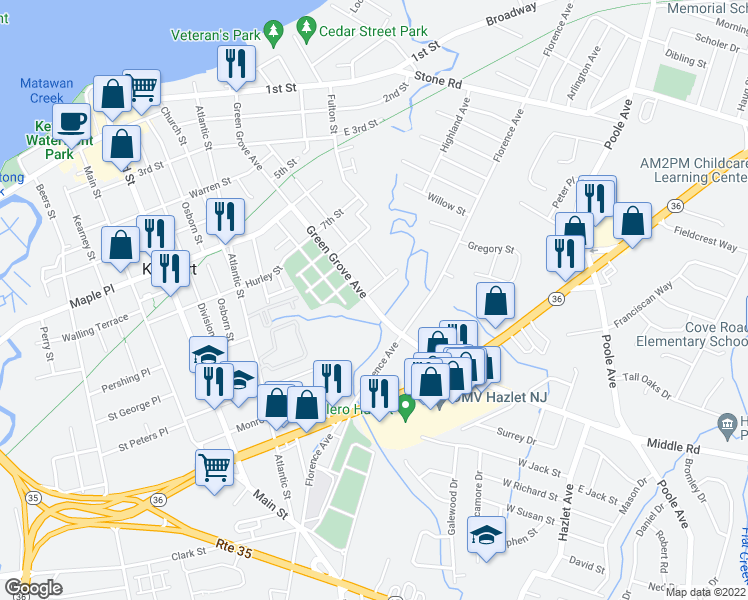 map of restaurants, bars, coffee shops, grocery stores, and more near 97 Green Grove Ave in Keyport