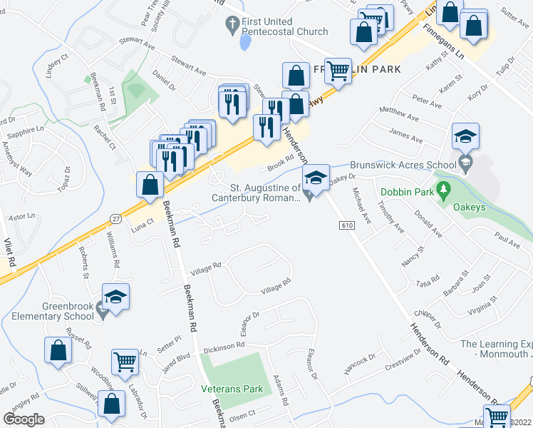 map of restaurants, bars, coffee shops, grocery stores, and more near 38 Colleen Ct in South Brunswick Township