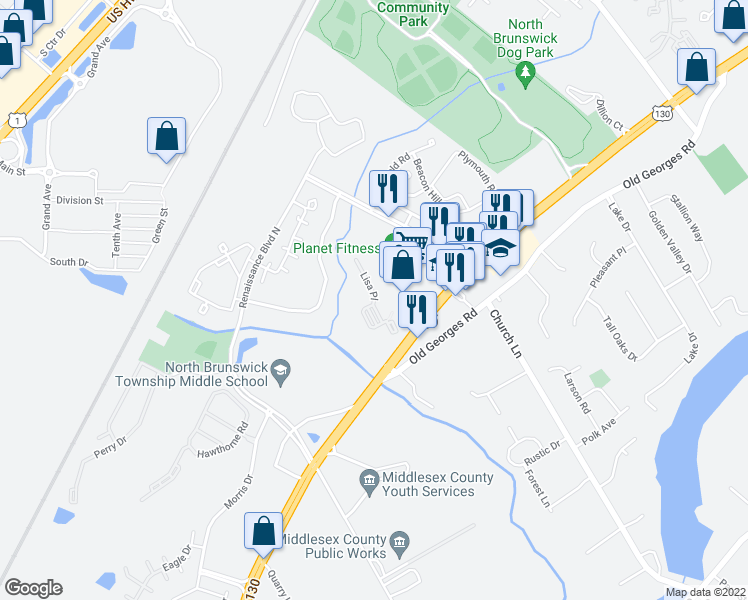 map of restaurants, bars, coffee shops, grocery stores, and more near 700 Lisa Place in North Brunswick