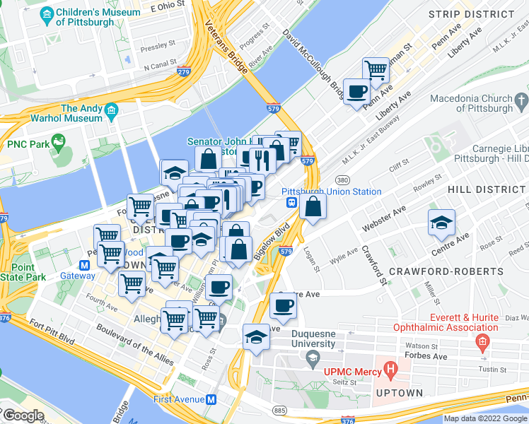 map of restaurants, bars, coffee shops, grocery stores, and more near  in Pittsburgh