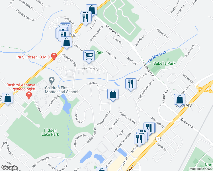 map of restaurants, bars, coffee shops, grocery stores, and more near 348 Schmidt Ln in North Brunswick Township