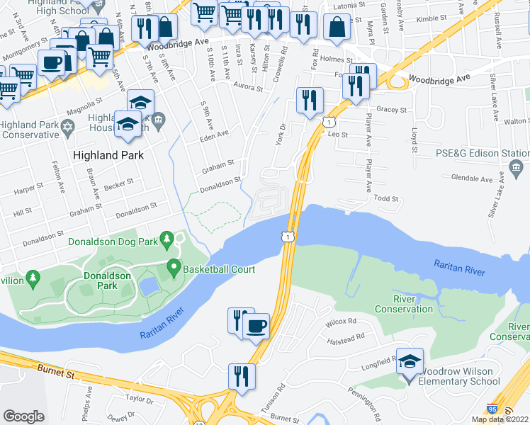 map of restaurants, bars, coffee shops, grocery stores, and more near 126-130 Marina Dr in Edison