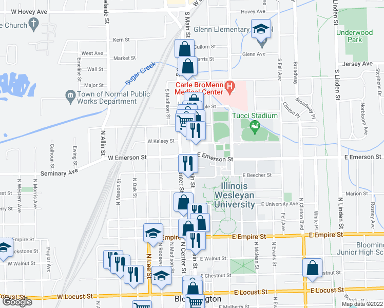 map of restaurants, bars, coffee shops, grocery stores, and more near N Main St & W Emerson St in Bloomington
