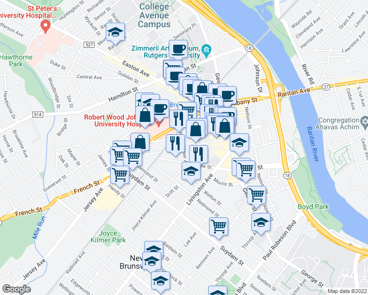 map of restaurants, bars, coffee shops, grocery stores, and more near Joyce Kilmer Ave & Bayard St in New Brunswick