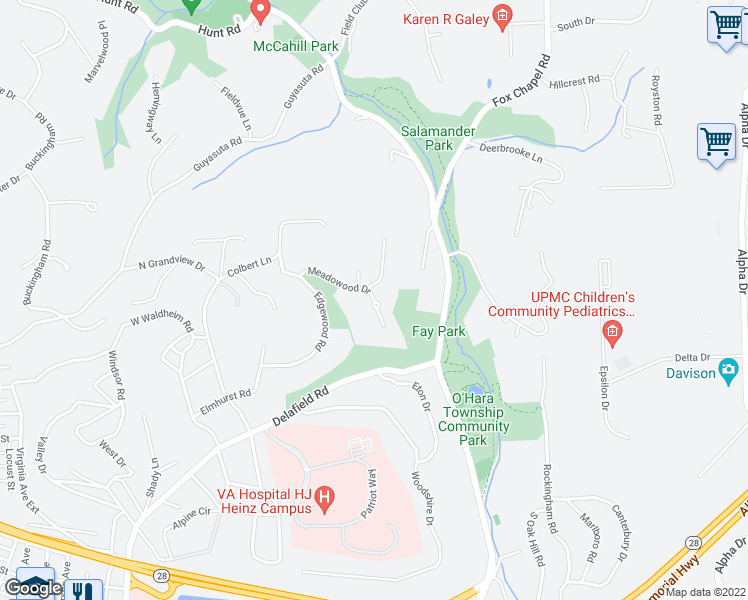map of restaurants, bars, coffee shops, grocery stores, and more near 10 Meadowood Dr in Pittsburgh