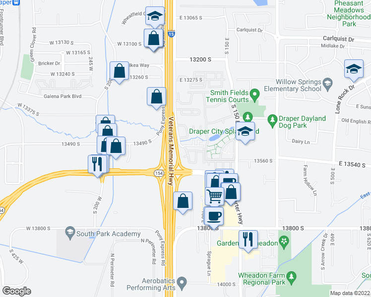 map of restaurants, bars, coffee shops, grocery stores, and more near 53 Bella Monte Drive in Draper